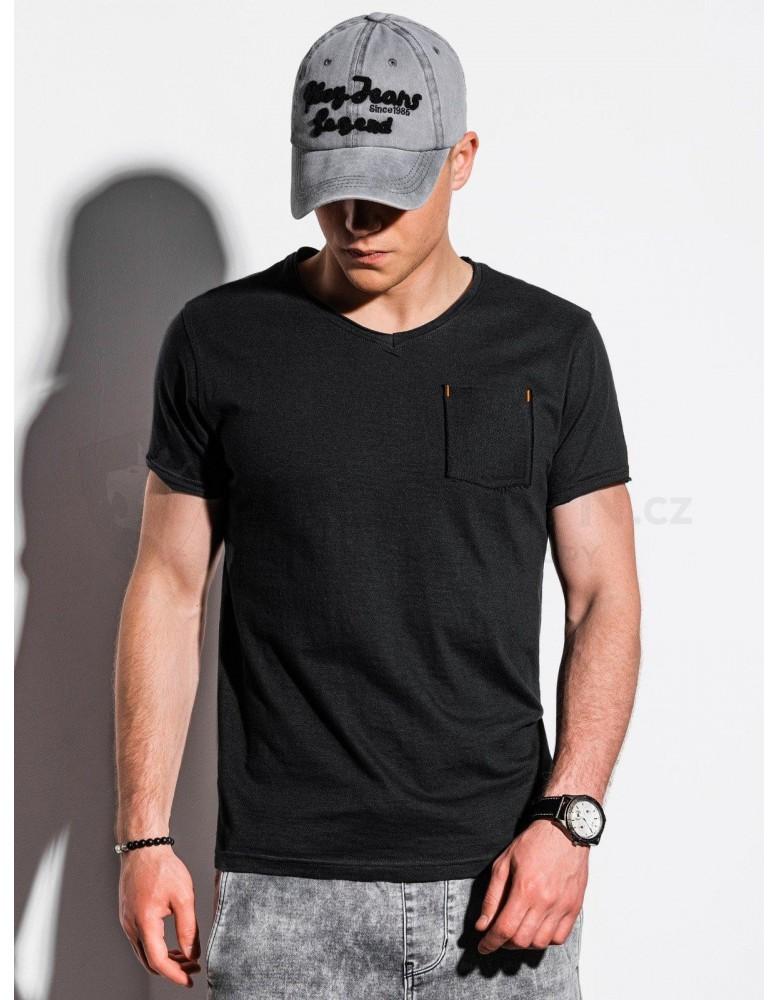 Pánské obyčejné tričko S1100 - černé