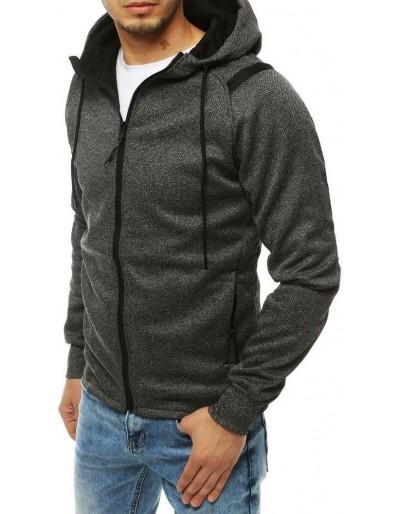 Pánská mikina na zip tmavě šedá BX4523