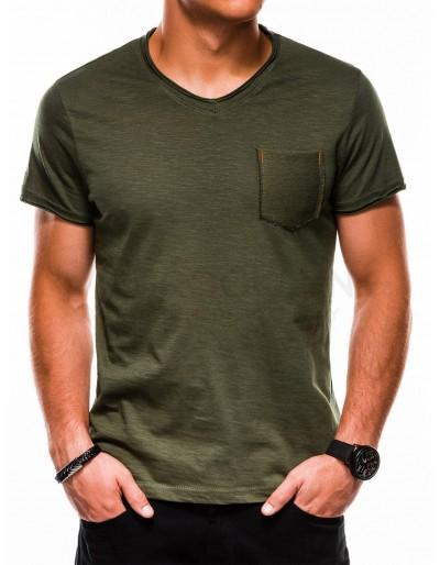 Pánské obyčejné tričko S1100 - olivové