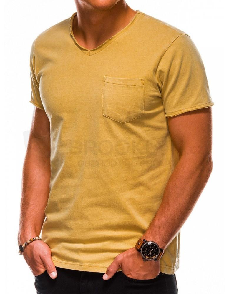 Pánské obyčejné tričko S1037 - žluté