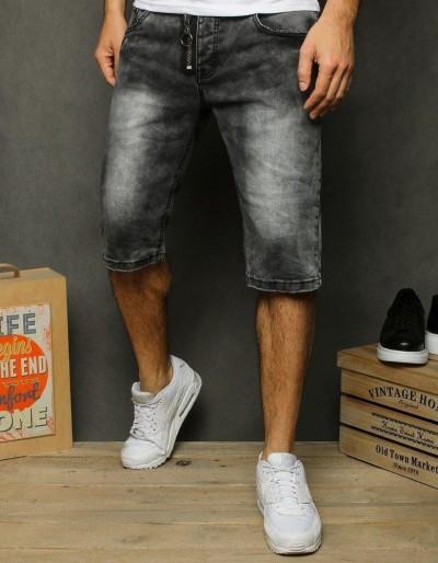 Pánské černé džínové kraťasy SX1201