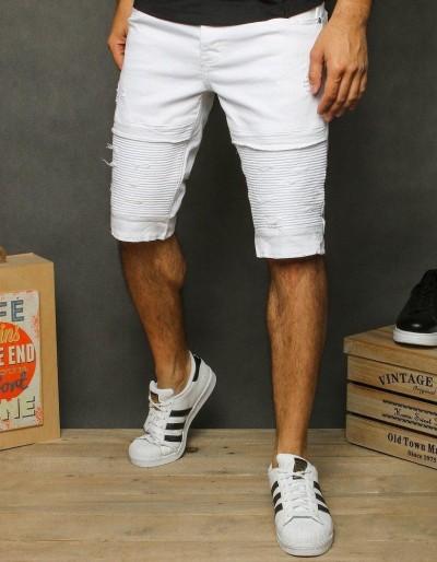 Pánské bílé džínové kraťasy SX1208