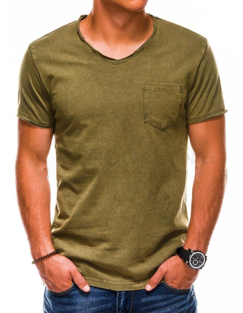 Pánské obyčejné tričko S1037 - olivové