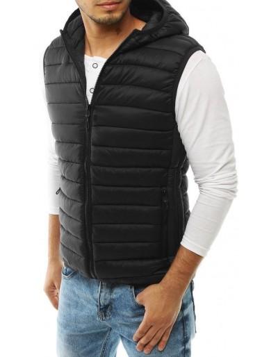 Pánská prošívaná vesta s kapucí černá TX3297