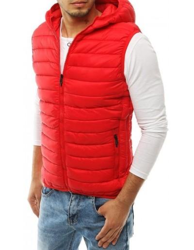 Pánská prošívaná vesta s kapucí červená TX3299
