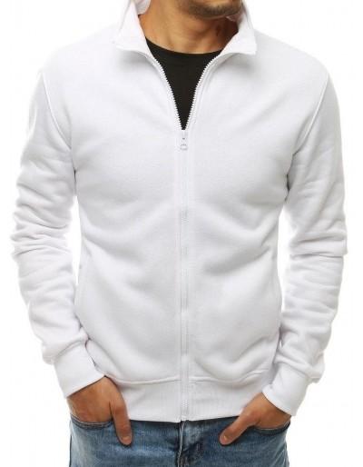 Bílá pánská mikina na zip bez kapuce BX4566