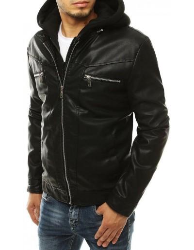 Černá pánská kožená bunda s kapucí TX3301