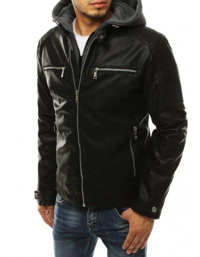 Černá pánská kožená bunda s kapucí TX3303