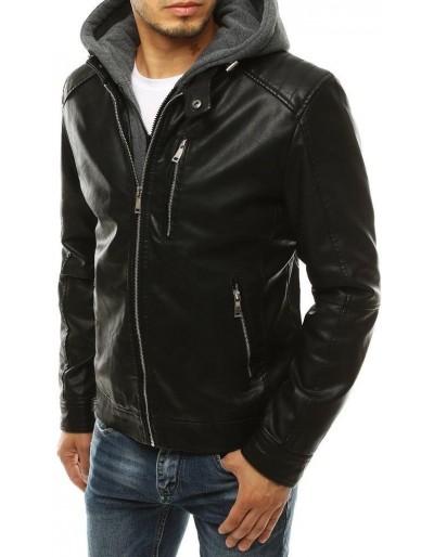 Černá pánská kožená bunda s kapucí TX3314