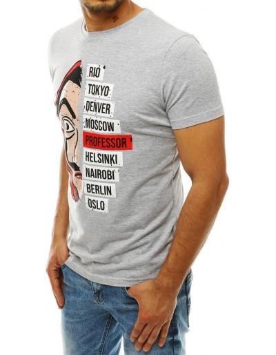 Světle šedé pánské tričko RX4244 s potiskem