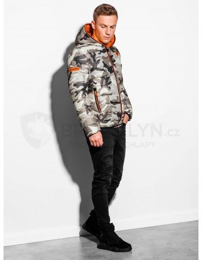 Pánská zimní bunda C367 - kamufláž / oranžová
