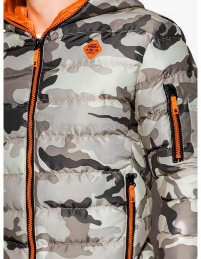 Men's winter jacket C367 - camo/orange