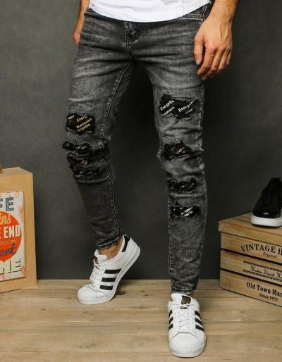 Tmavě šedé pánské riflové kalhoty UX2608