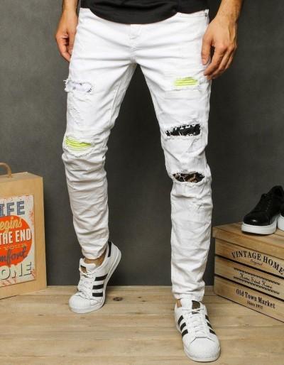 Bílé pánské džínové kalhoty UX2627