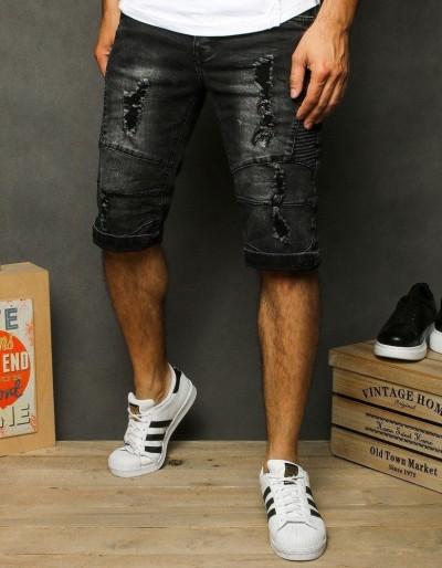 Pánské černé džínové kraťasy SX1284