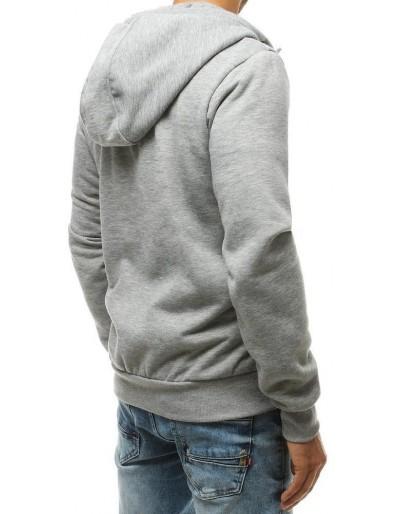 Bluza męska rozpinana z kapturem jasnoszara BX4601