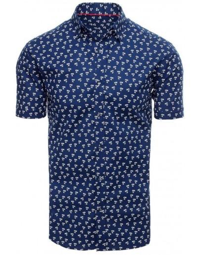 Námořnická modrá pánská košile s krátkým rukávem KX0930