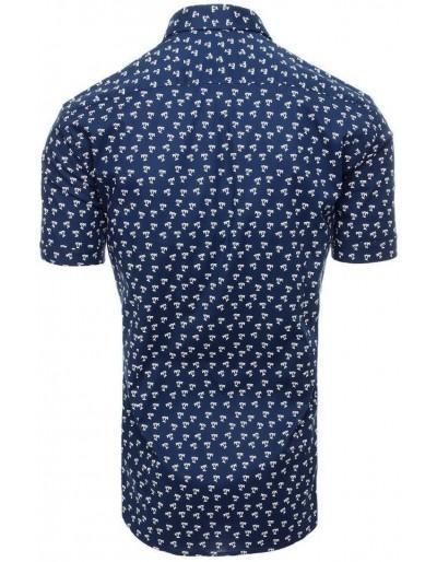 Granatowa koszula męska z krótkim rękawem KX0930