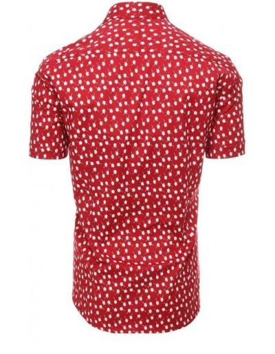Bordowa koszula męska z krótkim rękawem KX0935