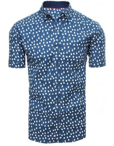 Námořnická modrá pánská košile s krátkým rukávem KX0936