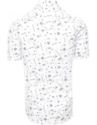 Biała koszula męska z krótkim rękawem KX0937