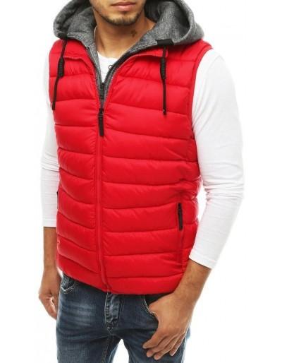 Pánská prošívaná vesta s kapucí červená TX3342
