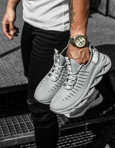 Světle šedé pánské boty ZX0171