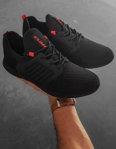 Černé a červené pánské boty ZX0183