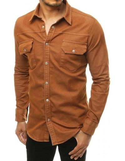 Pánská košile s dlouhým rukávem z mědi DX1915
