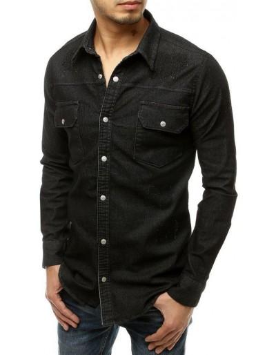 Černé pánské tričko s dlouhým rukávem DX1917