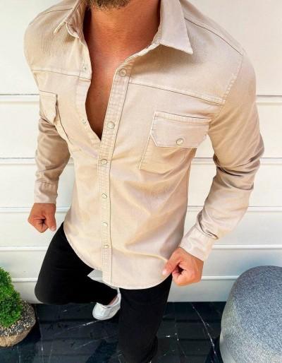 Pánská béžová košile s dlouhým rukávem DX1918