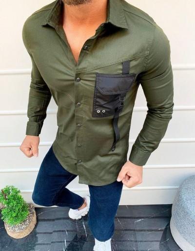 Zelené pánské tričko s dlouhým rukávem DX1920