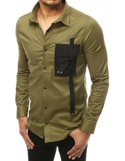 Pánské khaki tričko s dlouhým rukávem DX1922
