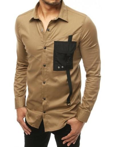 Pánská béžová košile s dlouhým rukávem DX1925