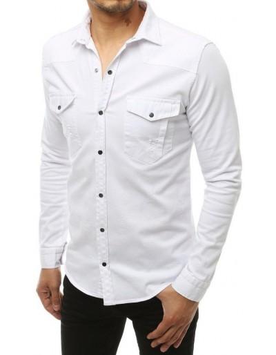 Bílé pánské tričko s dlouhým rukávem DX1926