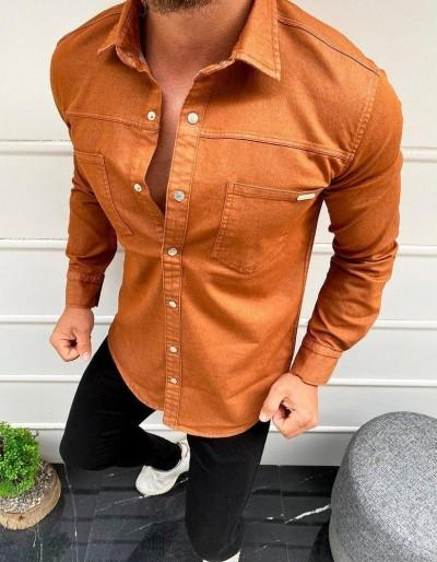 Pánská košile s dlouhým rukávem z mědi DX1931