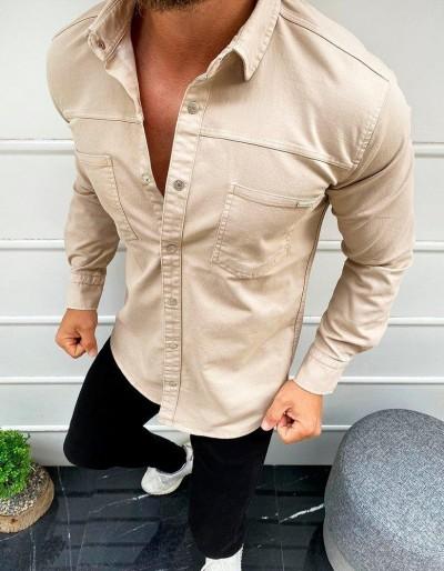 Pánská béžová košile s dlouhým rukávem DX1932