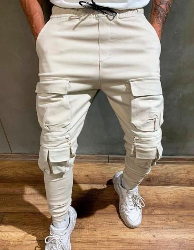 Pánské nákladní kalhoty, krémové běžecké kalhoty UX2643