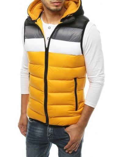 Žlutá pánská prošívaná vesta s kapucí TX3365