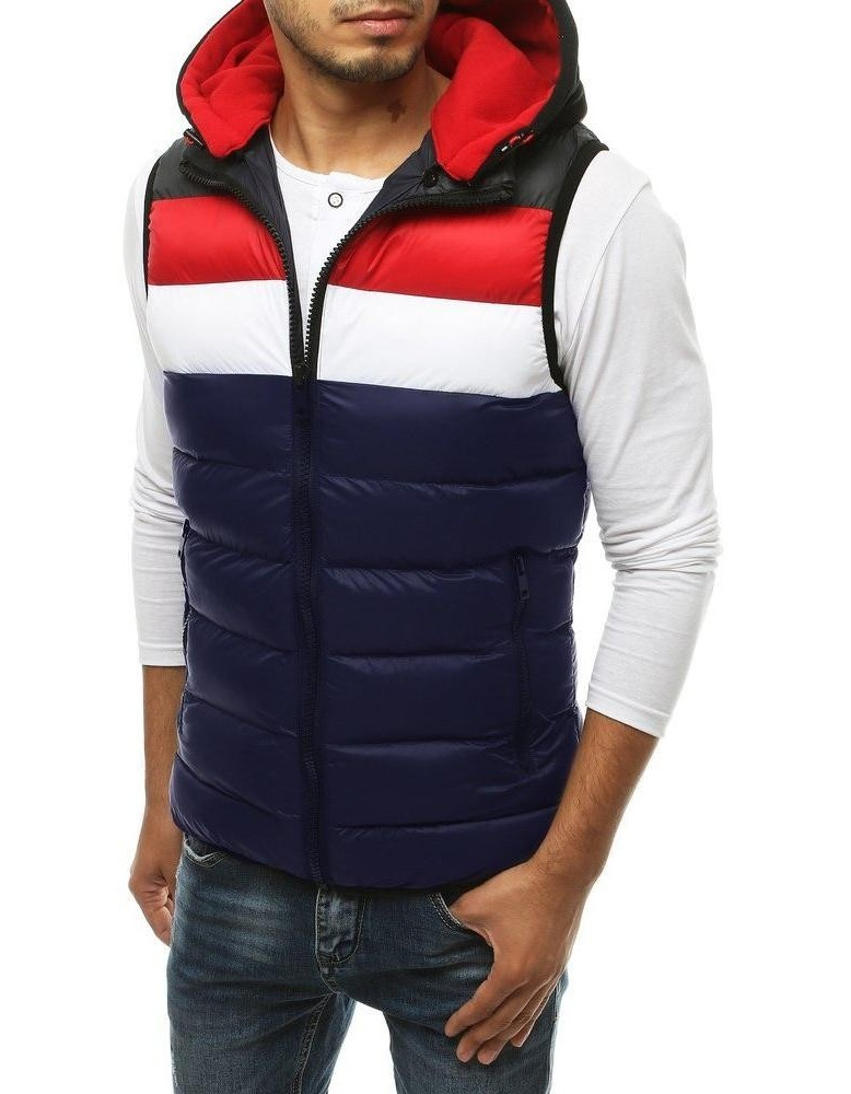 Pánská prošívaná vesta s kapucí Navy TX3366