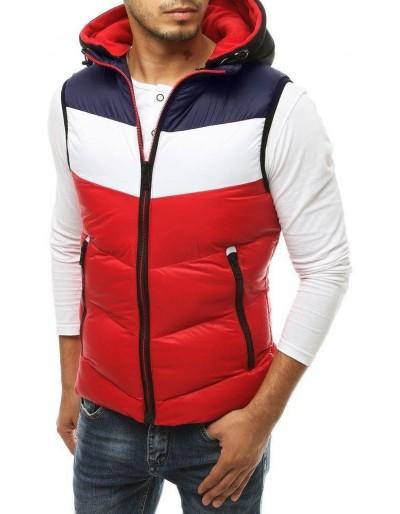 Červená pánská prošívaná vesta s kapucí TX3367