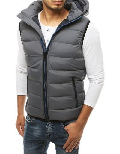 Šedá pánská prošívaná vesta s kapucí TX3372
