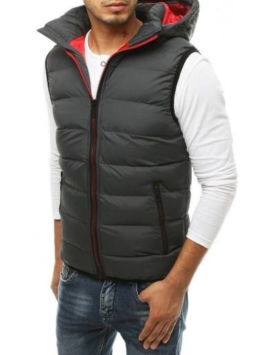 Pánská prošívaná vesta s kapucí TX3373 tmavě šedá