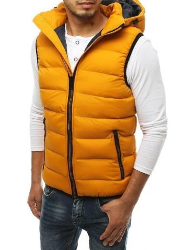 Žlutá pánská prošívaná vesta s kapucí TX3374