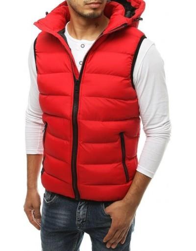 Pánská prošívaná vesta s kapucí červená TX3376