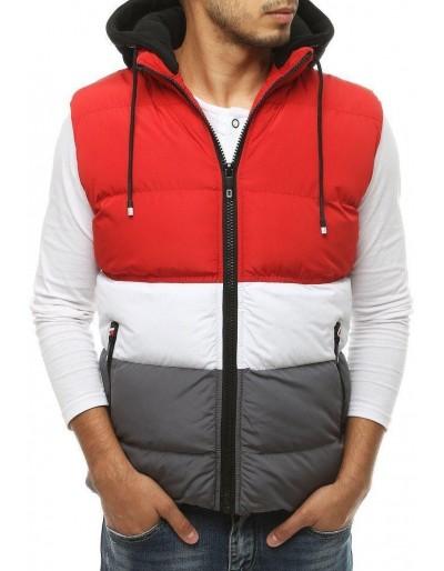 Pánská prošívaná vesta s kapucí červená TX3378