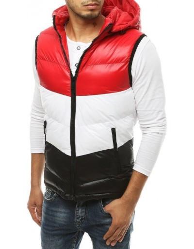 Pánská prošívaná vesta s kapucí červená TX3382