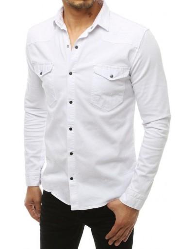 Bílé pánské tričko s dlouhým rukávem DX1933