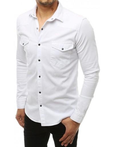 Bílé pánské tričko s dlouhým rukávem DX1934
