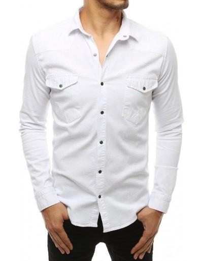 Koszula męska z długim rękawem biała DX1934